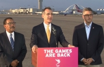 Reuters Video: LA mayor Garcetti arrives home after clinching 2028 Summer Games