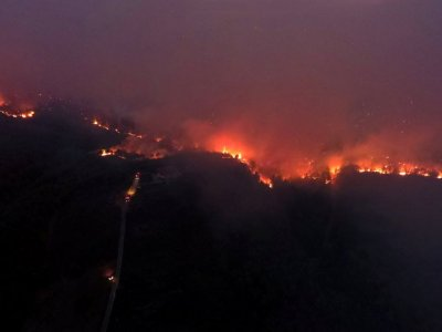 Wildfire burning in Athens suburb