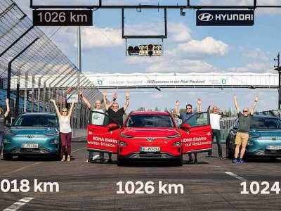 1,026 km is the new electric range record set by the Hyundai Kona