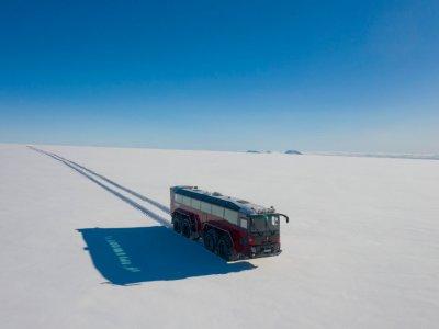 Giant metallic 'steed' traverses Iceland's threatened glacier