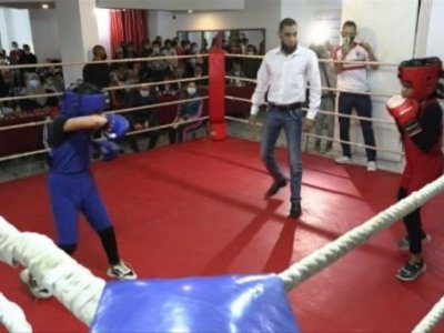 Girls storm the boxing ring in Gaza gym