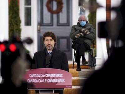 """桑德斯""""路人阿伯""""走红网络      加拿大总理借用宣传防疫"""