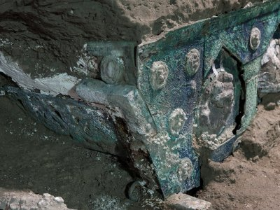 Archaeologists uncover ancient ceremonial carriage near Pompeii