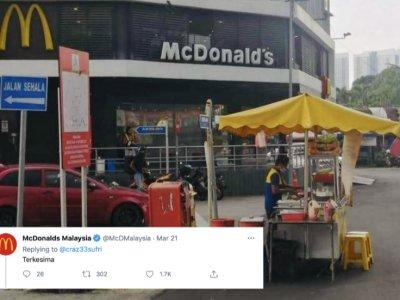 国民汉堡摊开在麦当劳旁边 网民: 超大胆!