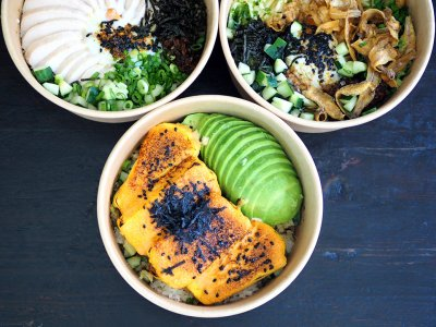 Awesome rice bowls from Three Guys Cafe