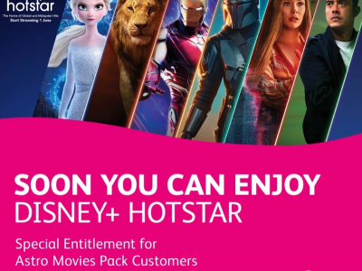Disney+ Hotstar offered automatically for an extra RM5/month to Astro Movies Pack customers