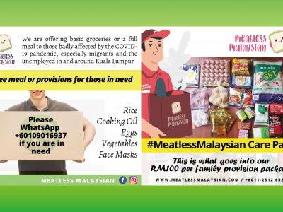为失业者提供餐点和援助包!Meatless Malaysia送暖
