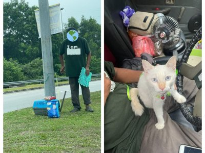 Malaysians touched by story of homeless man living in his car with stray cat as pet, helps him with donations