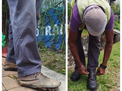 Puchong man celebrates birthday by gifting a new pair of shoes to a street sweeper
