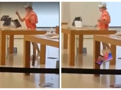 Unhappy with customer service, angry woman in HK Apple store smashes iPhones, MacBooks
