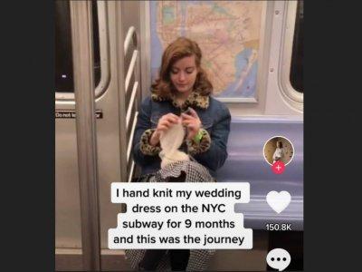 US bridal dress designer makes own wedding dress on subway commute to work over nine months