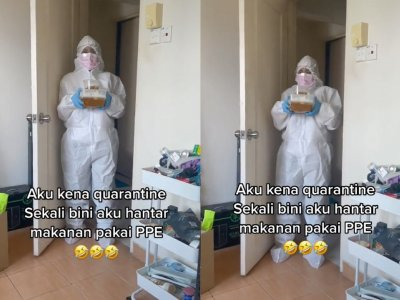 Malaysian wife spooks husband in home quarantine by donning full PPE to send food