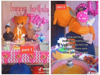 After not seeing her kids for eight months, Malaysian mother wears teddy bear costume, surprises daughter on birthday VIDEO)