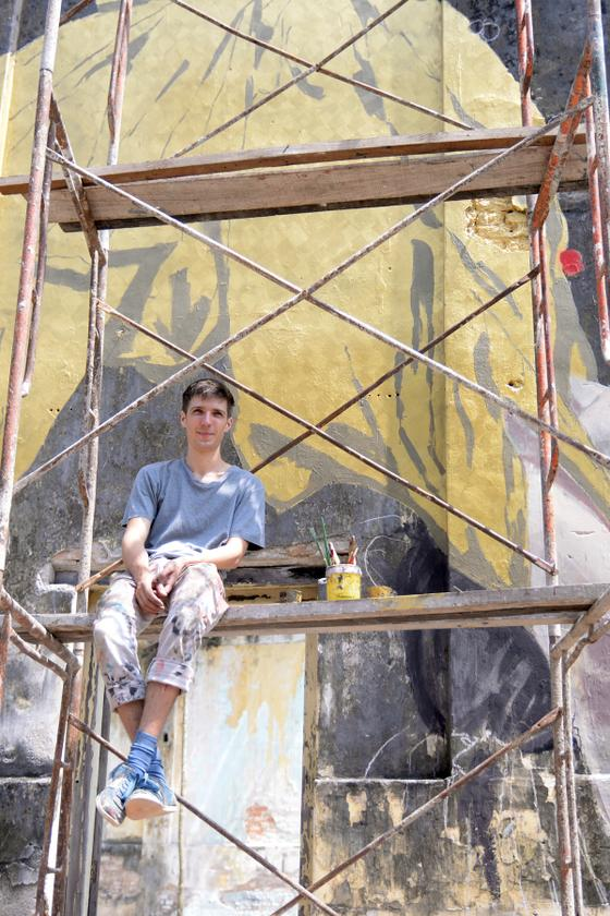 Zacharevic is still putting the final touches to one of the murals at this solo exhibition.