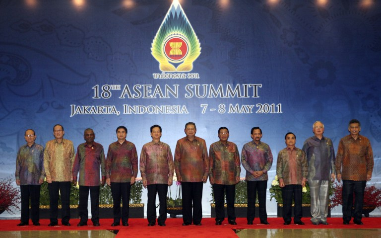 A Muslim consumer group has warned that wearing of pure silk batik cloths is forbidden in Islam. File photo shows traditional Indonesian batik shirts being worn by leaders attending the 18th Asean Summit in Jakarta on May 7, 2011. — AFP pic