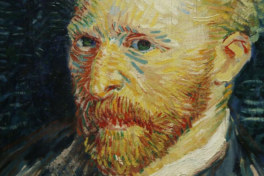 Brush strokes seen in a detail from 'Portrait de l'Artiste', Autumn 1887, a self-portrait by Vincent van Gogh, at the exhibition 'Van Gogh/Artaud The Man Suicided by Society', Musee d'Orsay, Paris March 10, 2014. — Reuters pic