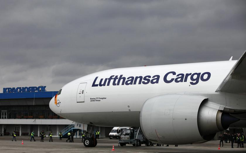 A Boeing-777F freighter of  Lufthansa Cargo AG sits on a tarmac after landing at the Yemelianovo airport in Russia's Siberian city of Krasnoyarsk, March 31, 2014. — Reuters pic