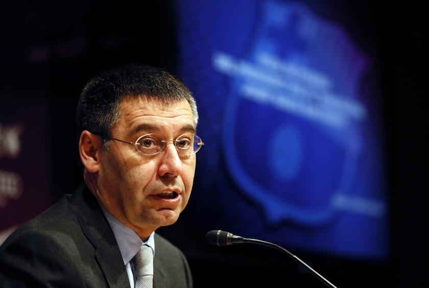 Then Barcelona's President Josep Maria Bartomeu speaks during a news conference at Camp Nou stadium in Barcelona in this file picture taken on April 3, 2014. — Reuters pic