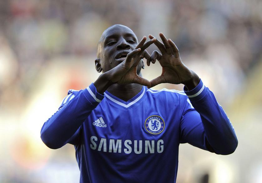 Chelsea's Demba Ba celebrates scoring a goal against Swansea City during their English Premier League football match at the Liberty Stadium in Swansea, Wales, April 13, 2014. — Reuters pic