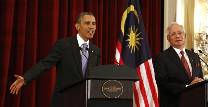 US President Barack Obama talks next to Malaysian Prime Minister Najib Razak as they both participate in a news press conference at the Perdana Putra Building in Putrajaya, April 27, 2014. — Reuters pic