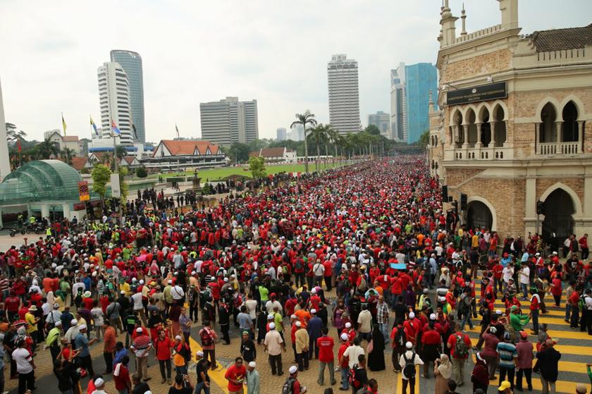 Thousands of Malaysian protesters turn up to protest against the Goods and Services Tax (GST) in front of Dataran Merdeka, on May 1, 2014. — Picture by Choo Choy May