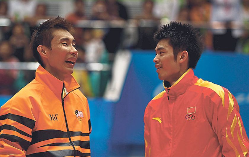 File photo of Chong Wei sharing a light moment with Lin Dan during the 16th Asian Games on November 21, 2010 in Guangzhou, China. — file picture
