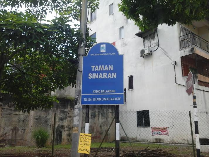 A signboard for Taman Sinaran, the neighbourhood where Brianna was shot with two arrows on Wednesday, is shown in this photo, taken May 15, 2014. — Photo by Yap Tzu Ging
