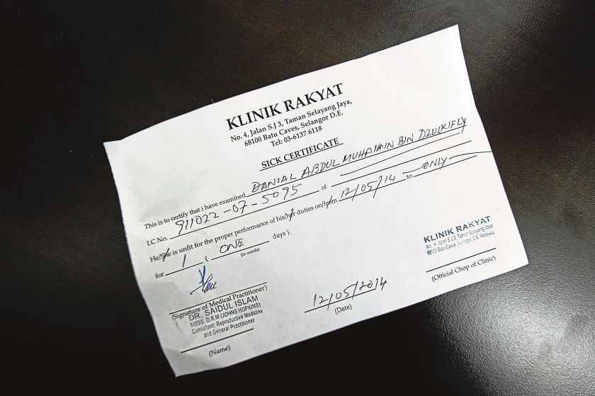 Picture shows a medical chit (MC) bought by a Malay Mail reporter with the doctor's stamp but not his MMC registration number on it. ― Malay Mail pic