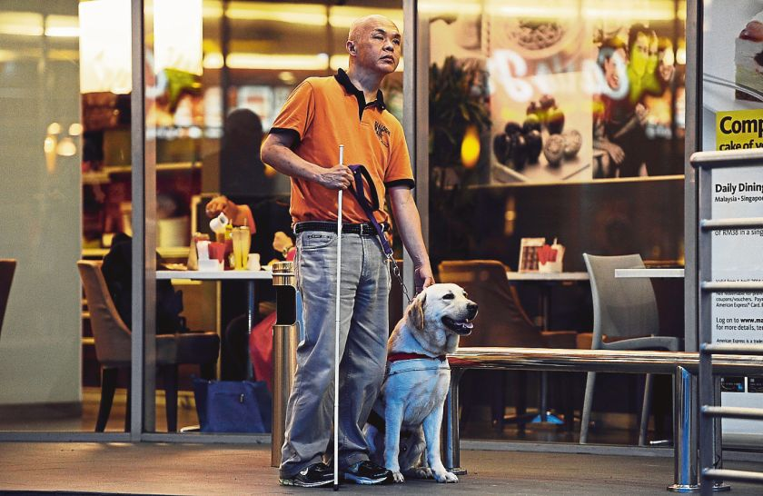 Chan and his guide dog Lashawn were refused a ride by several taxi drivers who insisted animals were not allowed in their vehicles. — Picture by Azinuddin Ghazali