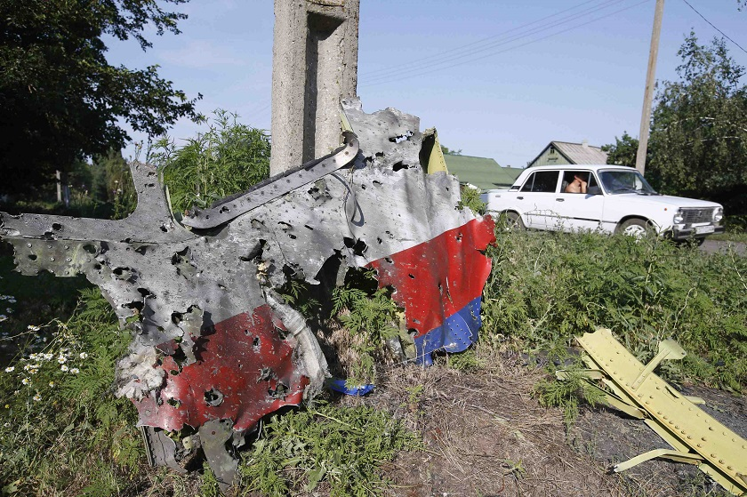 A piece of the wreckage is seen at a crash site of the Malaysia Airlines Flight MH17 in the village of Petropavlivka (Petropavlovka), Donetsk region, July 25, 2014. — Reuters pic
