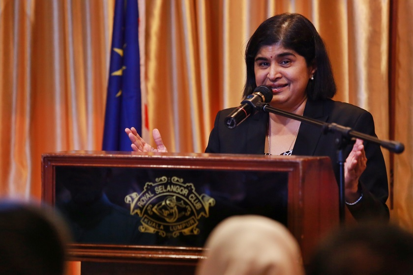 Datuk Ambiga Sreenevasan, together with Datuk A. Samad Said, launched Negaraku earlier today. — Picture by Saw Siow Feng