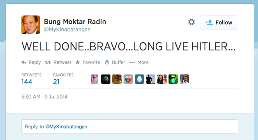 A screen capture of Datuk Bung Moktar Radin's twitter page showing his tweet after Germany trashed Brazil 7-1 in the World Cup 2014 semi-final.