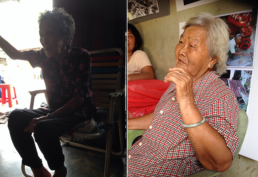 Kong Sook Koon, 87 has been living in her house for the past 67 years (left). Choo Sui Yin, 78 who is living alone, said she has nowhere else to move to (right).