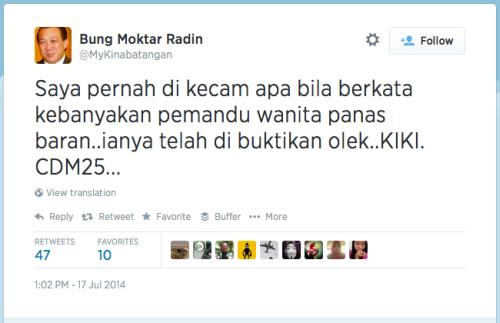 A screen grab of Umno MP Datuk Bung Moktar Radin's tweet on women drivers.