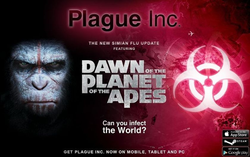 'Plague Inc' gets ready for a Simian infection. ― AFP pic
