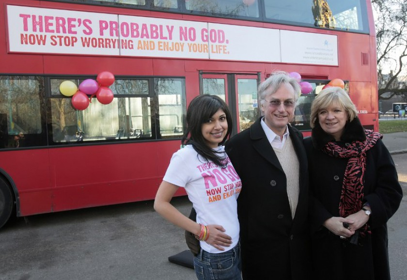 File picture shows atheist professor Richard Dawkins posing for pictures beside a London bus displaying an advertising campaign with the words 'There's probably no God. Muslim groups claimed the National Unity Consultative Council's proposed anti-discrimination law 'recognise atheism and contravene the Rukunegara.' — AFP pic
