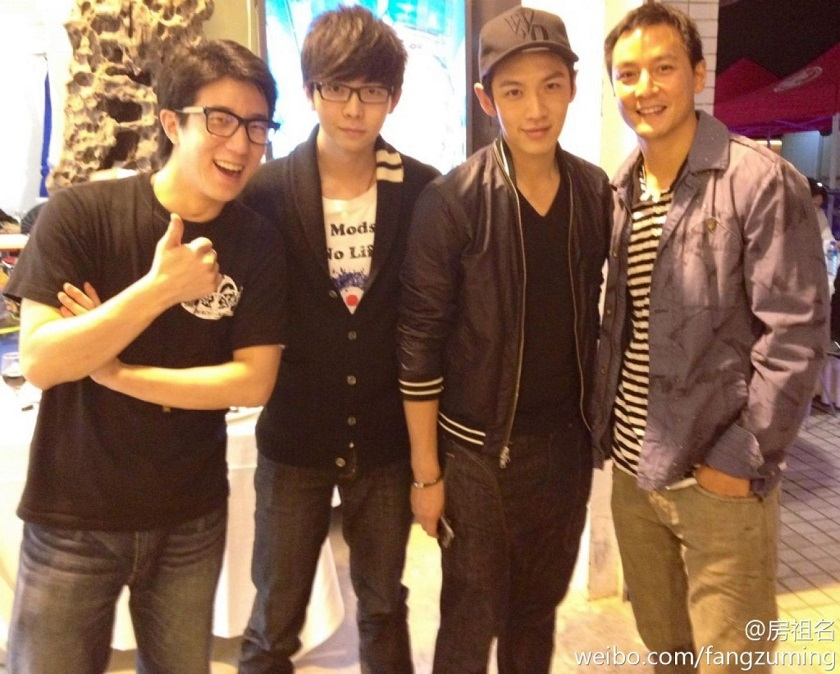 Jaycee Chan (left) and Kai Ko (third from left) have been arrested on drug charges, Beijing police confirmed. Picture from Jaycee Chan's Weibo account.