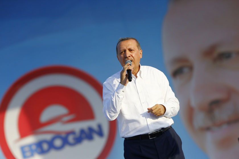 Turkey's presidential candidate Tayyip Erdogan during an election rally in Istanbul August 3, 2014. ― Reuters pic