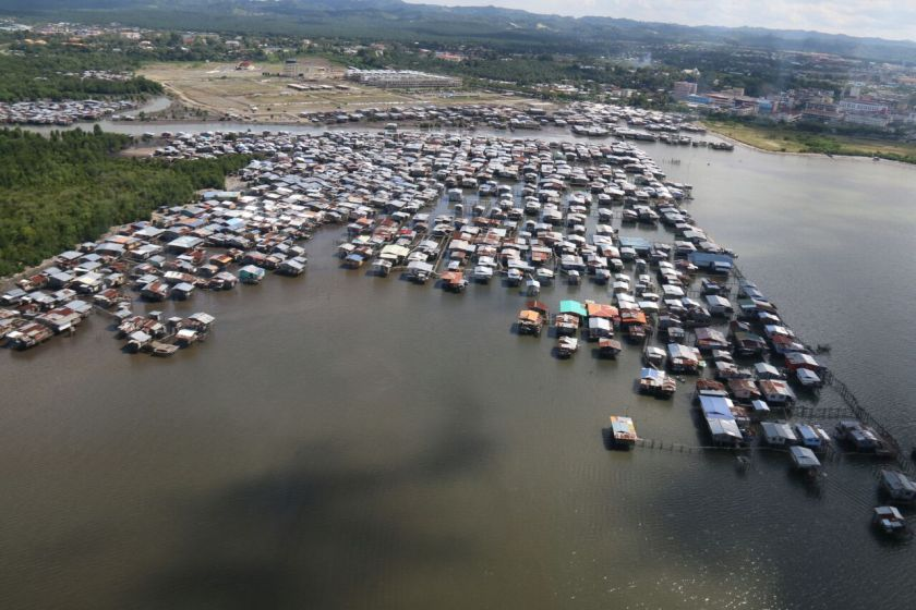 File picture shows the water village squatters colony in Lahad Datu, Sabah. ― Picture courtesy of Esscom