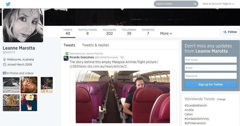 A screengrab of Leanne Marotta's Twitter post showing a picture of a near-empty flight out of Melbourne to Kuala Lumpur, which she has insisted is real.