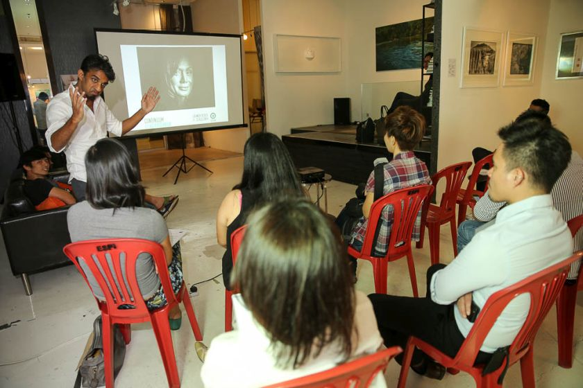 Vignes Balasingam speaking at the media launch of OBSCURA Festival 2014 yesterday. — Picture by Choo Choy May