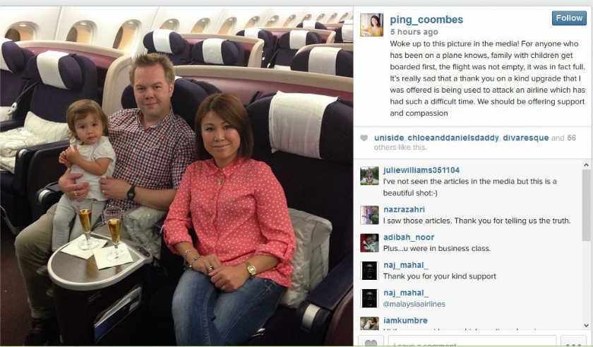 A screenshot of Masterchef UK 2014 winner Ping Coombes's Instagram account, showing her seated on a MAS flight with her family.