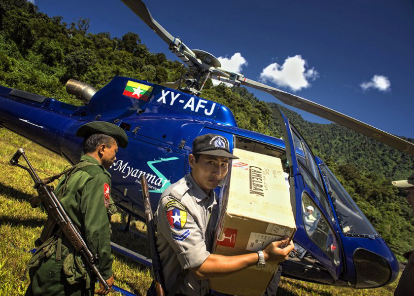 The helicopter due to bring relief supplies to a Hkaka Borazi in the Myanmar side of the Himalayas lost contact with the ground, Sept 28, 2014. — AFP pic
