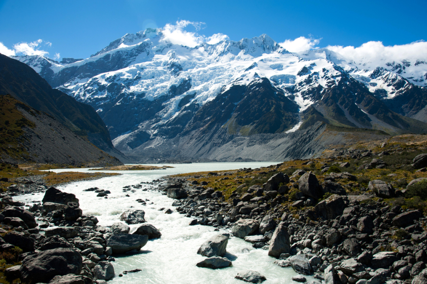 A glacier in Mount Cook National Park in South Island, New Zealand. New Zealand police today found the body of a British backpacker who went missing in the South Island after the area was hit by heavy rain and floods. — AFP pic