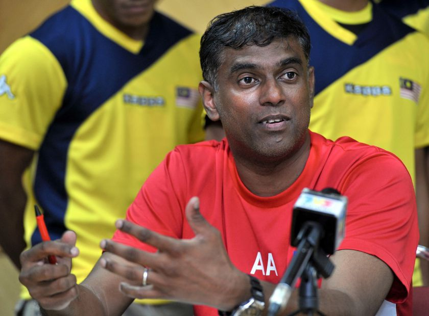 File picture shows hockey coach Arul Selvaraj answering questions during a press conference at Bukit Jalil. — Bernama pic