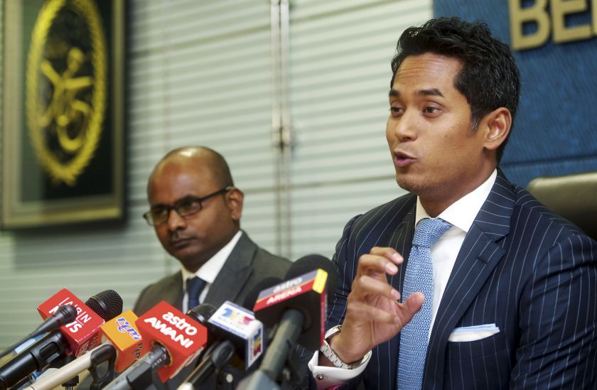 Umno Youth chief Khairy Jamaladdin (right) said the wing is satisfied with Datuk Seri Najib Razak's explanation on issues raised by Tun Dr Mahathir Mohamad. — File pic