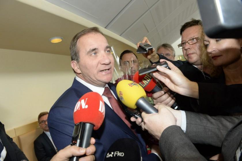Sweden's prime minister Stefan Loefven addressed issues on household debt and stabilsing the Swedish economy, November 17, 2014. — AFP pic