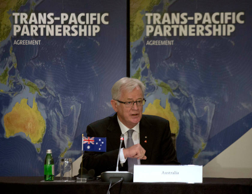 Australia's Trade Minister Andrew Robb speaks during the Trans-Pacific Partnership meeting in Sydney, October 25, 2014. — Reuters pic