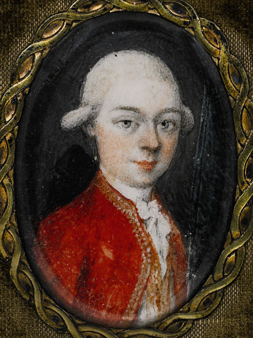 A handout picture released by Sotheby's on October 3, 2014 shows a portrait painting of Wolfgang Amadeus Mozart, at age 21, painted by an anonymous artist in 1777.