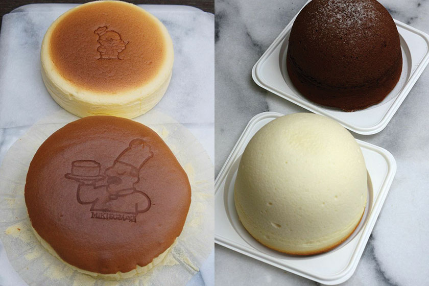 At the back is Uncle Tetsu cheesecake, while the front is the slightly larger Miki Ojisan No Mise cheesecake (left). Uncle Tetsu's cheese zuccotto resemble hats with a light souffle texture (right)